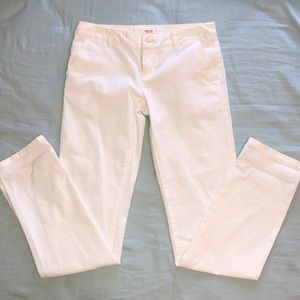 White fitted straight jeans